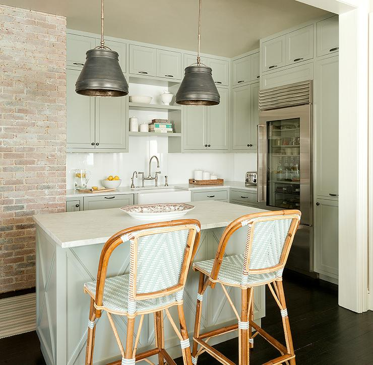 Gray Green Kitchen Cabinets With White Countertops Transitional Kitchen