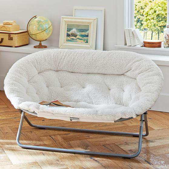 Ivory Sherpa Double Hang A Round Chair