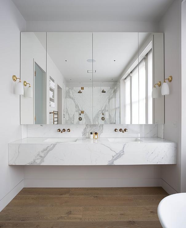 Marble Floating Vanity Sink Modern Bathroom