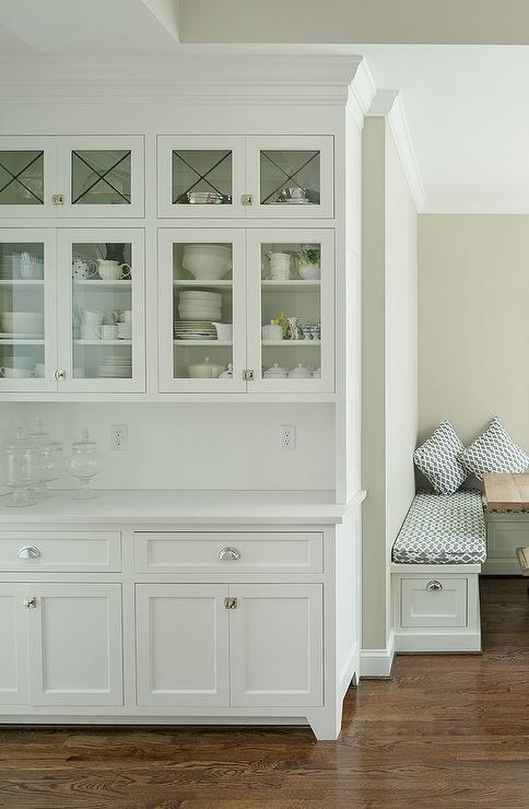 Built In Kitchen Hutch With Glass Doors Transitional