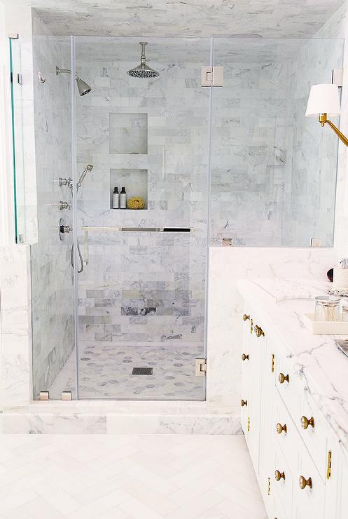gray marble tiled shower ceiling