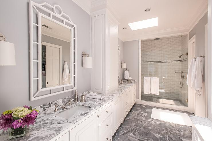 white and grey marble bathroom countertops - transitional - bathroom