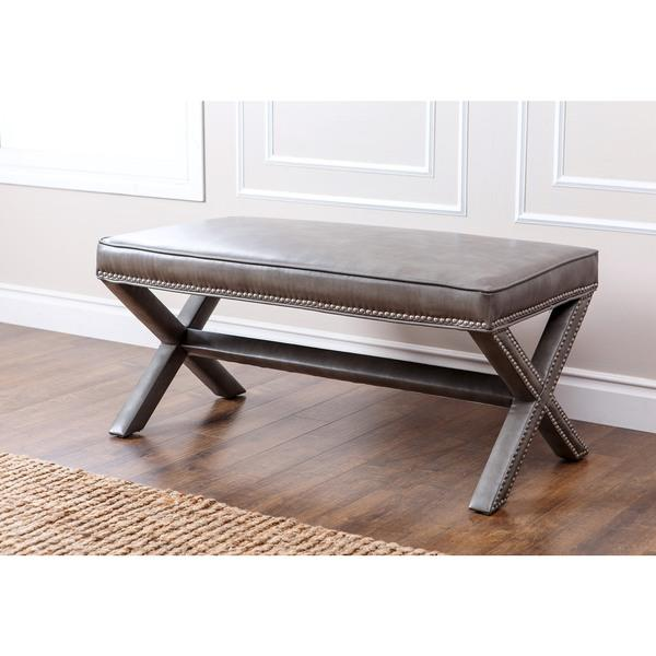 Caden Leather Bench Pottery Barn