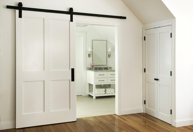En Suite Bathroom With Blue Double Doors Transitional