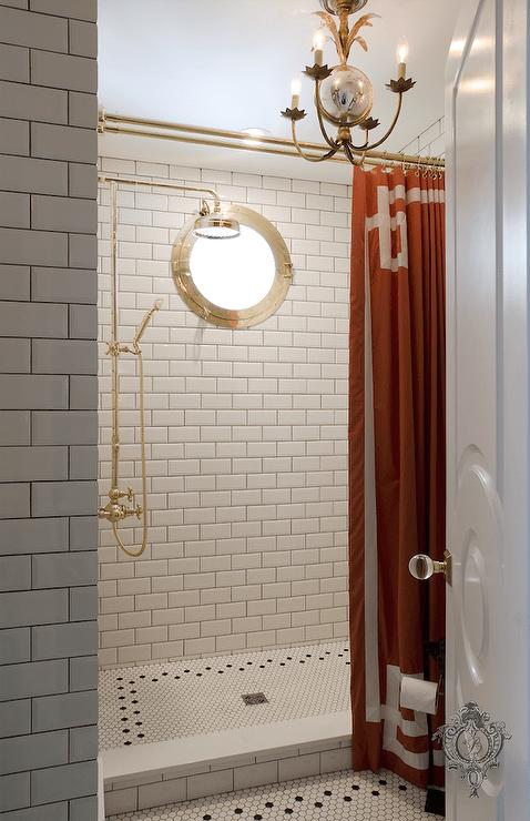 orange greek key shower curtain