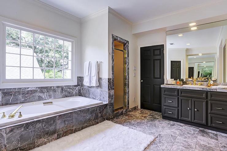 Black Bathroom Vanity With Black Marble Tub Contemporary