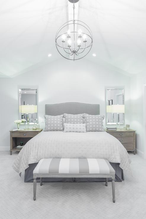 striped gray bedroom bench