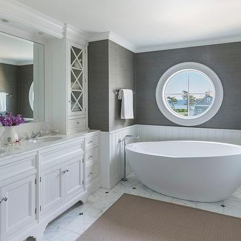 Shiplap Clad Drop In Tub With Tiled Niche Cottage Bathroom