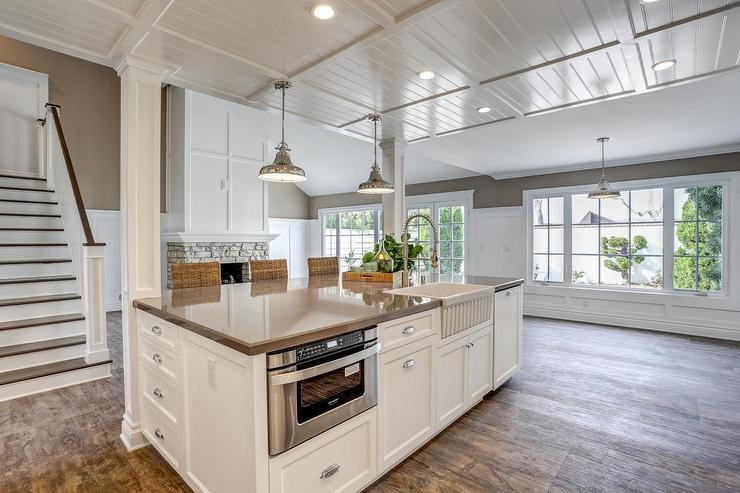 kitchen island with apron sink and