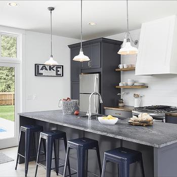 Navy Kitchen Island With Navy Tolix Stools Cottage Kitchen