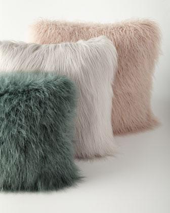 khan faux fur pillows in mauve or teal