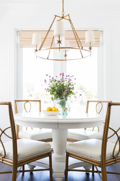 White Round Dining Table With Bamboo Chairs