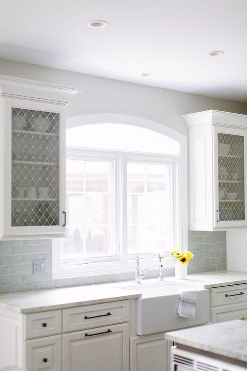 Kitchen Cabinets With Metal Lattice Doors Transitional
