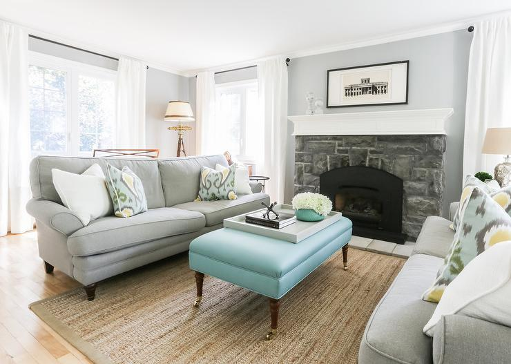 Blue And Gray Living Room With Bench As Coffee Table
