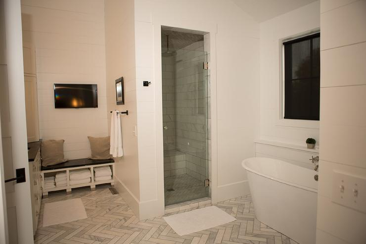 Master Bathroom With Built In Soapstone Bench