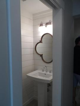 Wood Quatrefoil Mirror Over Pedestal Sink   Transitional   Bathroom Wood Quatrefoil Mirror Over Pedestal Sink