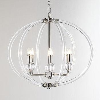 Lucite Silver Six Light Pendant In Clear