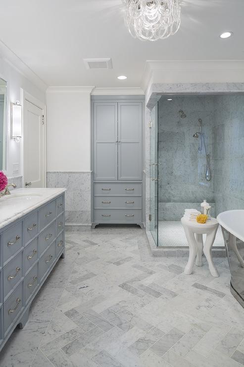 honed carrera marble herringbone floor
