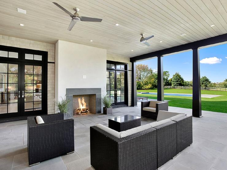 Covered patio with Gray Modern Outdoor Fireplace ... on Modern Backyard Patio id=31115