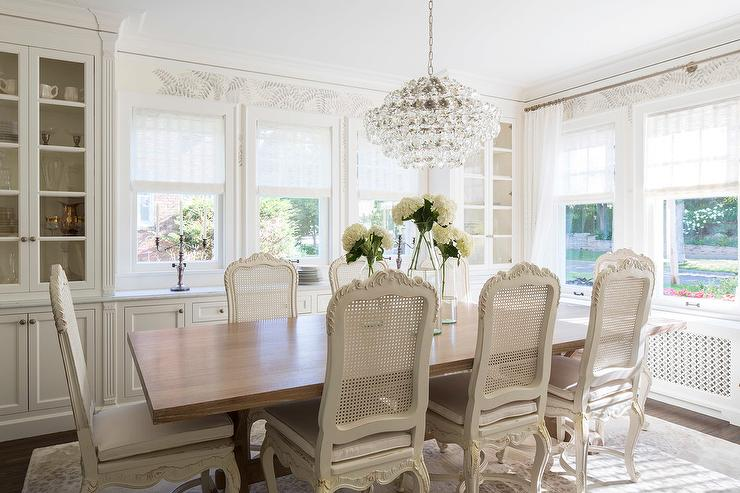 French Dining Room With Built In China Cabinet Transitional Dining Room Benjamin Moore