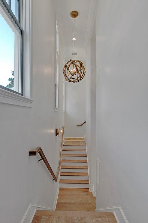 Narrow Staircase With Driftwood Pendant Cottage