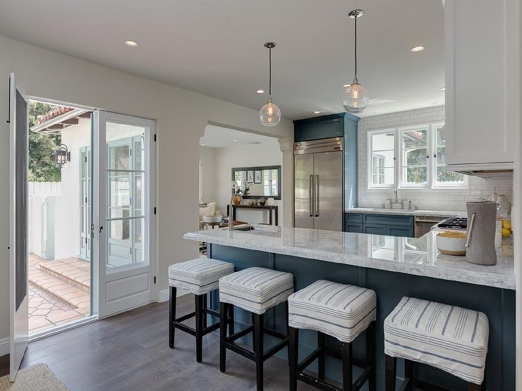 Blue Kitchen Cabinets With Gray Quartzite Countertops Transitional Kitchen