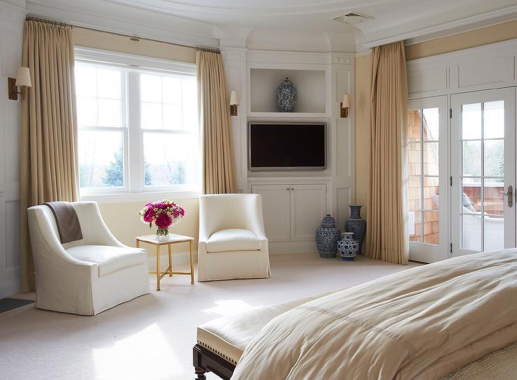 Master Bedroom With Corner TV Built Ins