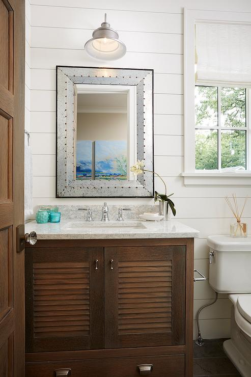 Blue Shutter Double Vanity With Satin Nickel Cup Pulls And