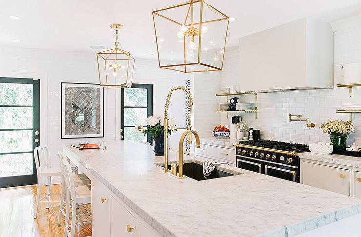 Long Kitchen Island As Dining Table With Antique Brass