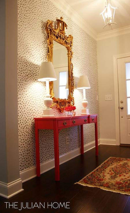 Stenciled Foyer Wall With Hot Pink Console Table