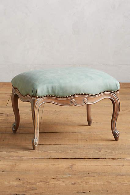 Oly Tufted Leather X Frame Ottoman