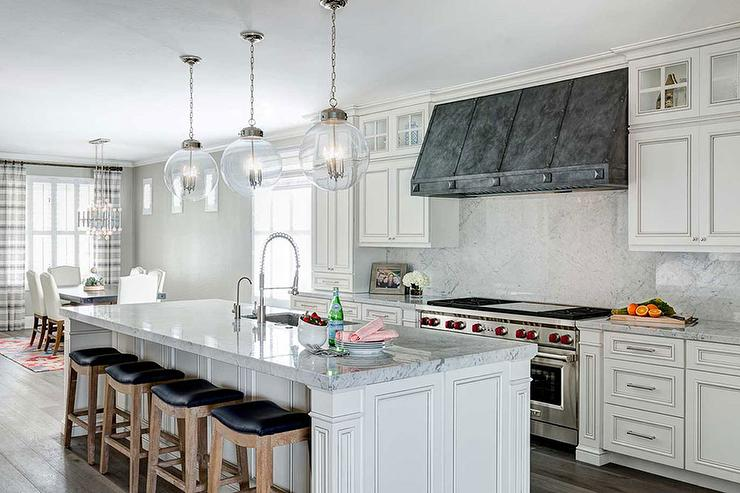 French White Kitchen Cabinets With Zinc Hood