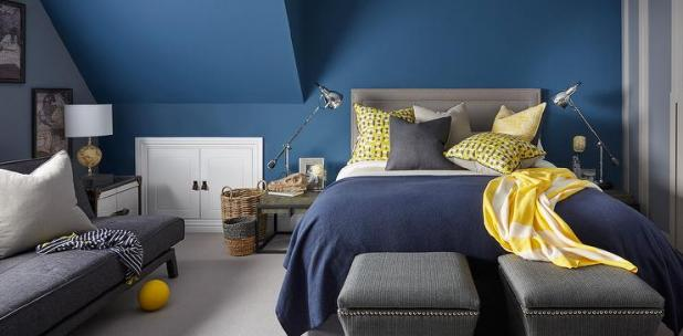 Blue Yellow And Gray Bedroom Design | Nrtradiant.com