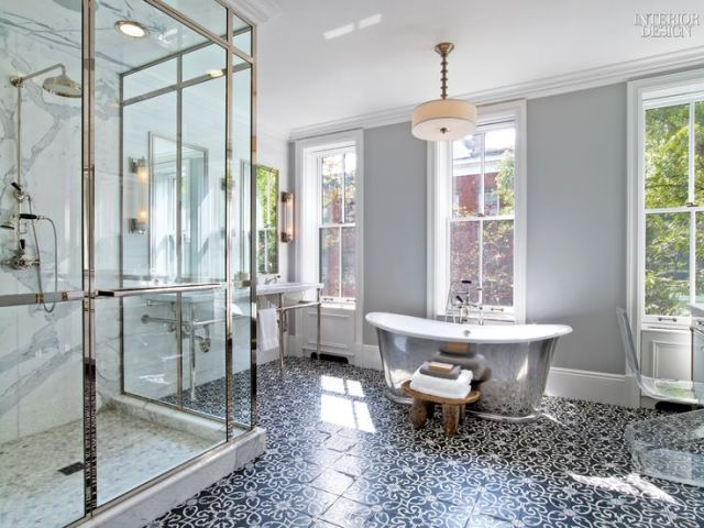 Gray Bathroom with Black and White Mosaic Tile Floor   Contemporary     Gray Bathroom with Black and White Mosaic Tile Floor