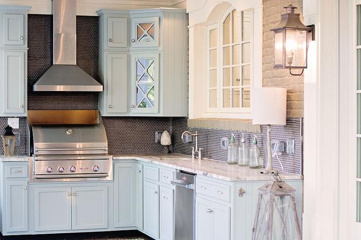 Blue Kitchen Cabinets With Fantasy Brown Granite