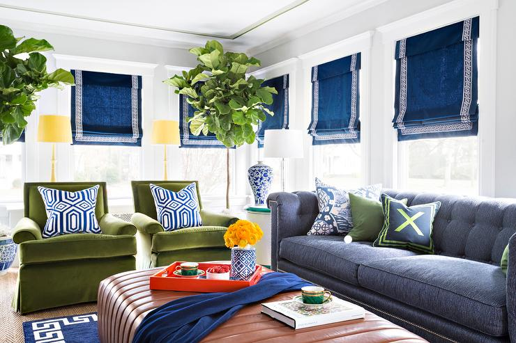 Blue And Green Living Room With Chesterfield Sofa