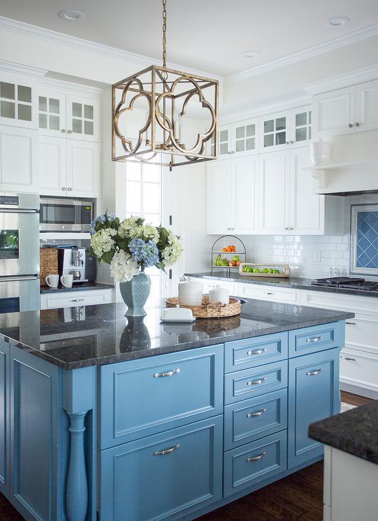 Cornflower Blue Kitchen Island with Black Granite ... on Kitchens With Black Granite Countertops  id=94620