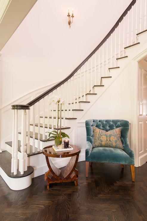 Blue Velvet Table Chair On Staircase Wall Transitional Entrancefoyer