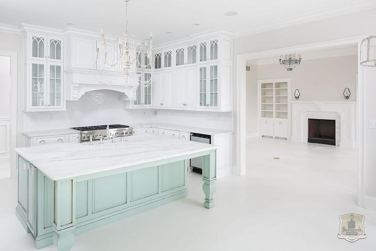 Mint Green Kitchen Island With Turned Legs Transitional Kitchen
