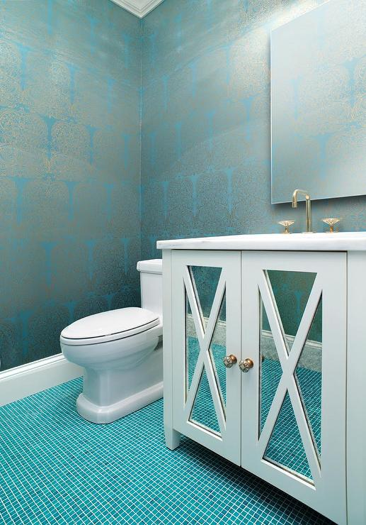 silver and turquoise damask wallpaper