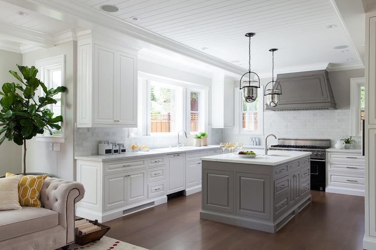 Gray Kitchen Hood With Gray Kitchen Island Transitional