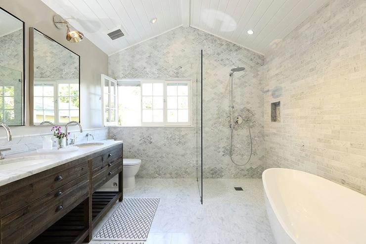 Open Shower With Marble Quatrefoil Tiles Transitional