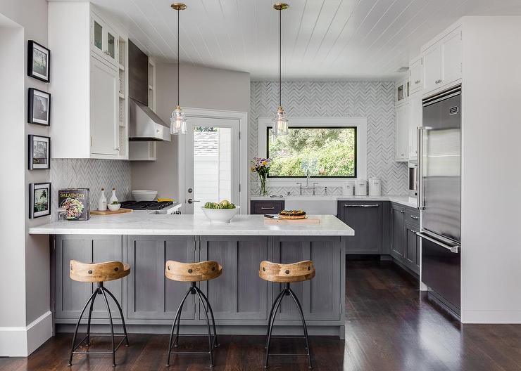 Gray Distressed Kitchen Cabinets With Marble Herringbone Tiles Contemporary Kitchen