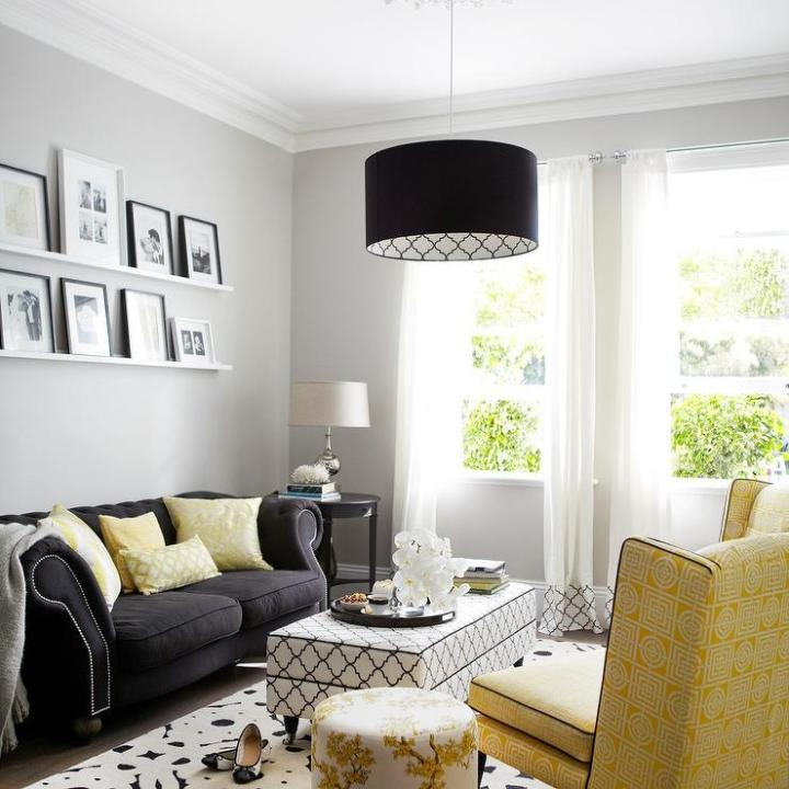 Black White Gray Yellow Living Room