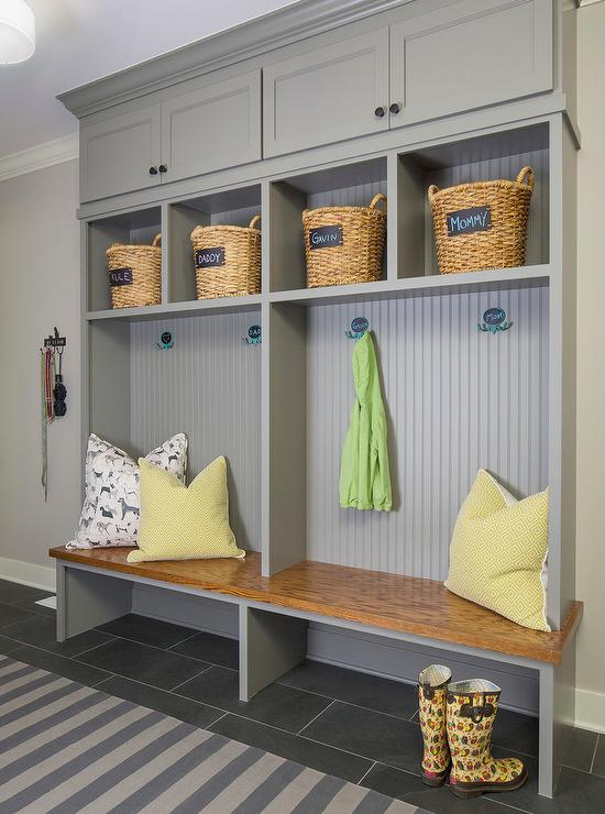 gray mudroom lockers with beadboard trim contemporary on best laundry room paint color ideas with wood trim id=25632