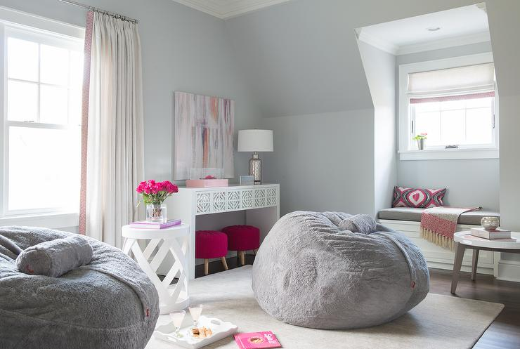 Pink and Gray Teen Girl Bedroom Design - Contemporary ... on Teenage Grey Small Bedroom Ideas  id=73242