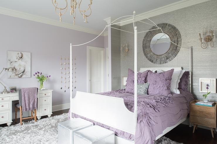 Purple and Gray Teen Girl Bedroom with White Canopy Bed ... on Teenage Grey Small Bedroom Ideas  id=43623