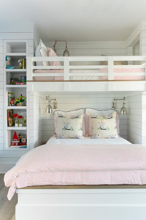 Shiplap Loft Bed With Swing Arm Sconces Cottage Girls Room Benjamin Moore Decorators White