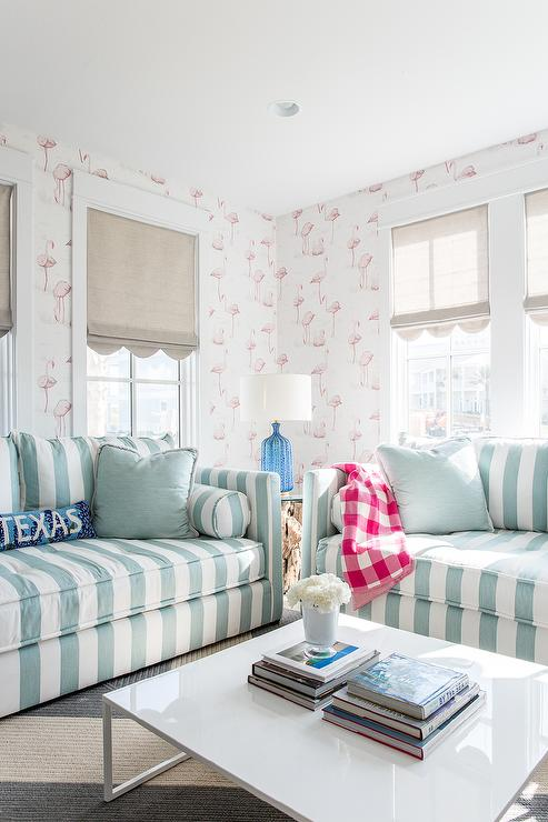 Turquoise Blue Striped Sofa With Pink Flamingos Wallpaper
