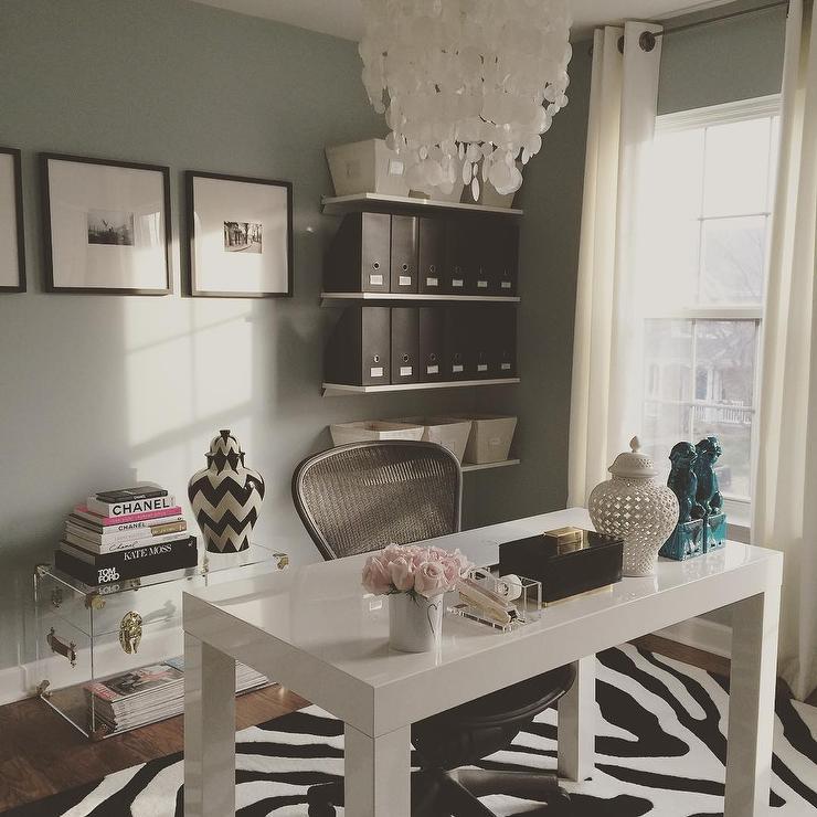 Blue Home Office With West Elm Parsons Desk